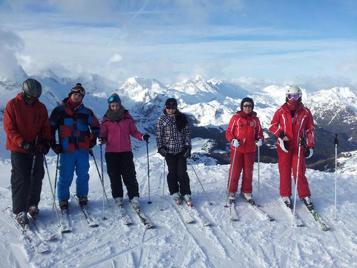Curso de ski Reyes Astún 2014. Esquí en grupo