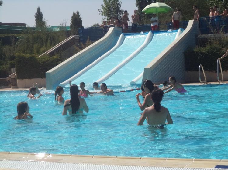 Niños del campamento en la piscina