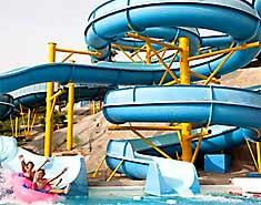 Excursión al Parque acuático. Campamento de playa Aguilas, Murcia, España. Verano julio y agosto.