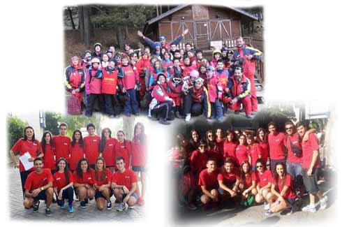 Grupos de campamentos y cursos de esquí.