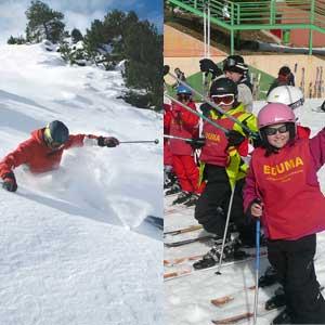 Cursos de esquí para niños, jovenes y adultos.