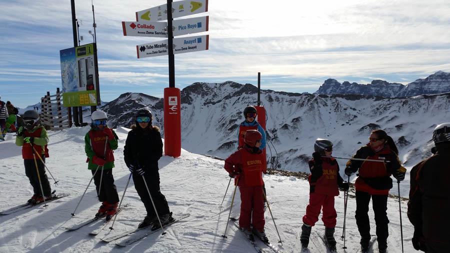 Cursillo de esqui en Formigal, Reyes 2015. Clases de esquí grupo María