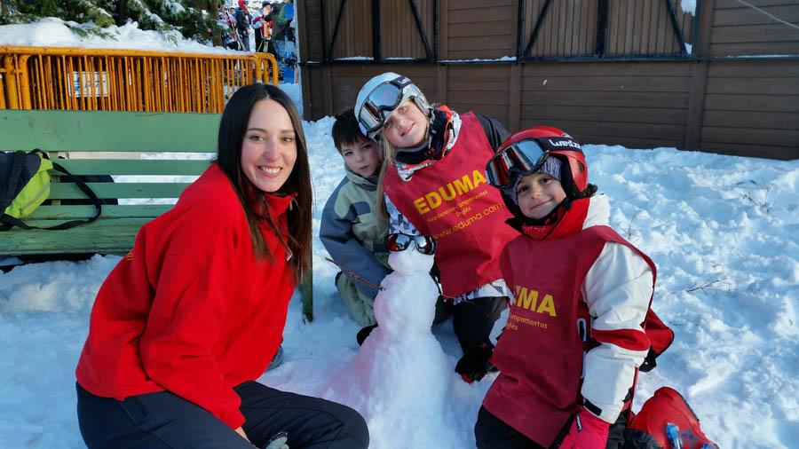 Curso ski sábados 2015. Valdesquí. muñeco de nieve