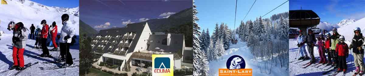 Apartamentos en Saint-Lary Reyes. Curso de esquí. Ski familiar, niños y adultos.