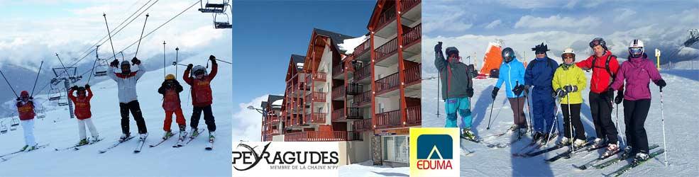 Apartamentos y estudios en Peyragudes Reyes. Curso de esquí. Ski familiar, niños y adultos.