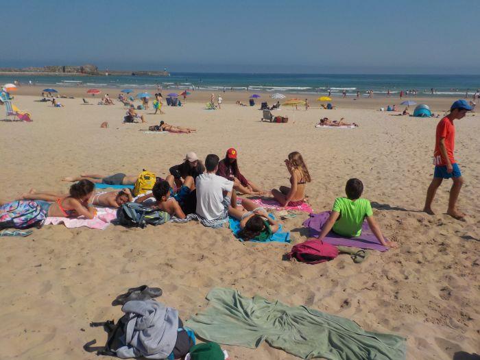 días de playa en el campamento