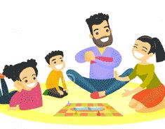 familia jugando con niños haciendo actividades y juegos en casa