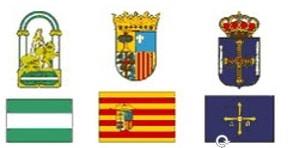 Escudos. Escuelas de Tiempo Libre reconocidas en Comunidad de Andalucia, Aragón y Asturias.
